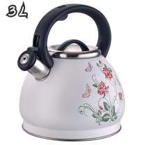 ARC USA 0018 Tea Kettle Food Grade with Heat Resistance Handle, Stainless Steel Teapot for Stovetop, Anti-Rust and Loud Whistling 3.2 Quart / 3L (3L - White flower pattern)
