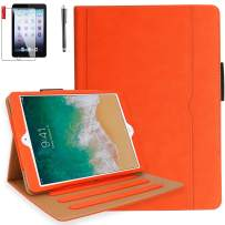 iPad 9.7 2018 2017 Air2 Air1 Case with Screen Protector and Stylus - iPad 5th 6th Generation Case with Hand Strap, Auto Sleep/Wake, Multi-Angle Viewing Folio Stand Cover and Card Pocket (Orange)