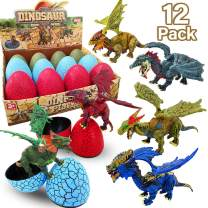 AMENON Dinosaur Eggs Easter Eggs, Surprise Eggs with 3D Dinosaur Figures Toys, Easter Basket Stuffers for Boys Kids Easter Gift Dino Party Favors (A-3D Dino Eggs)