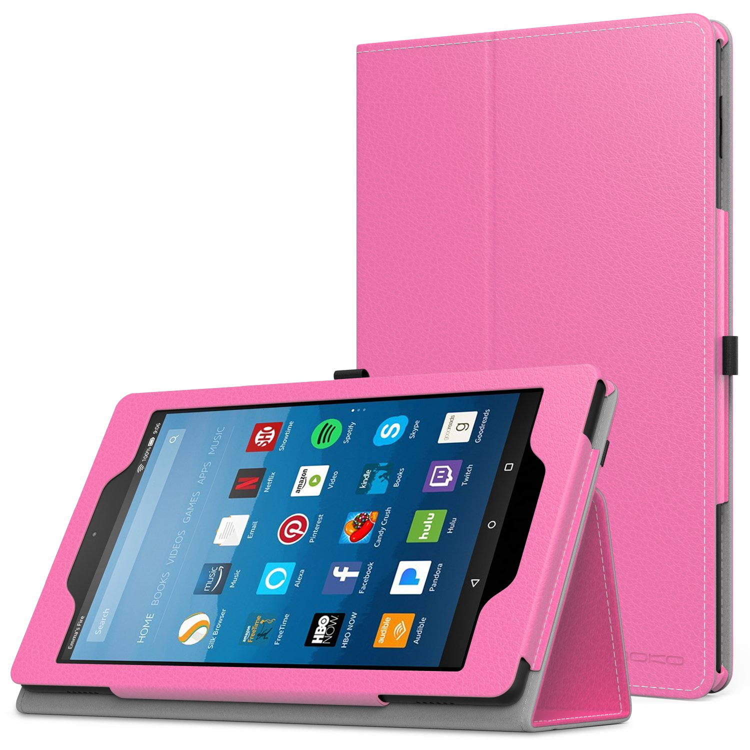MoKo Case for All-New Amazon Fire HD 8 Tablet (7th/8th Generation, 2017/2018 Release) - Slim Folding Stand Cover for Fire HD 8, Magenta (with Auto Wake/Sleep)