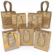 """ARTEZA Gift Bags 9.5""""x7""""x3.4"""", Set of 15 with an Assortment of 5 Unique Metallic Foil Designs on Kraft Paper (3 of Each Design), for Christmas Gifts, Birthday Parties, Wedding Presents, and More!"""