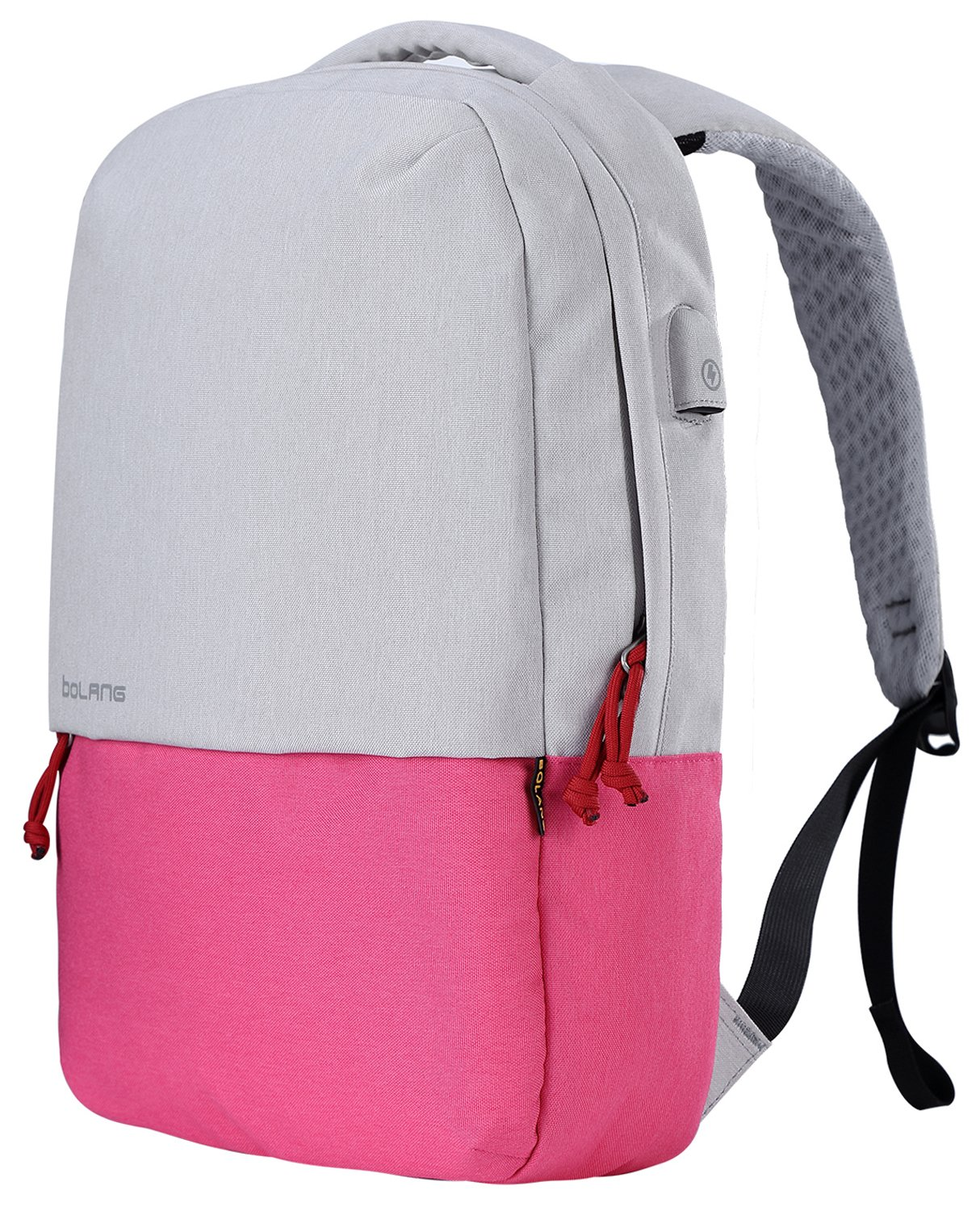 BOLANG Water Resistant Laptop Backpack with USB Charging Port School Bookbags Casual Daypack (White/Pink)