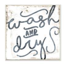 Stupell Industries Distressed Wood and Paint Texture Wash and Dry Curly Script Wall Plaque, 12 x 12, Multi-Color