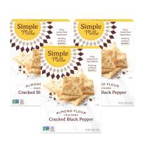 Simple Mills Almond Flour Crackers, Black Cracked Pepper, Gluten Free, Flax Seed, Sunflower Seeds, Corn Free, Better for you Snacks, Made with whole foods, 3 Count, (Packaging May Vary)