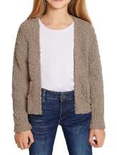 Girls Casual Open Front Long Sleeve Cardigan Pocket Fashion Sweater Outwear