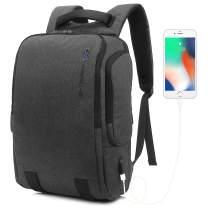 Travel Laptop Backpack, 17.3 Inch Laptops Backpack for Men Women with USB Charging Port, Water Resistant College School Computer Bag, Dark Grey