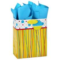 "Hallmark 9"" Medium Gift Bag with Tissue Paper (Yellow with Multicolored Stripes and Polka Dots) for Birthdays, Baby Showers or Any Occasion"