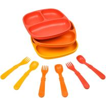 Re-Play Made in The USA Dinnerware Set - 3pk Divided Plates with Matching Utensils Set (Fall)