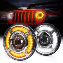 MICTUNING 7 Inch 80W Jeep Wrangler Round Headlight - DRL Daytime Running Light, High Low Beam, Dynamic Streamer Flow Amber Turn Signal Flowing Halo Light for Jeep Wrangler JK CJ TJ (2 Pack)