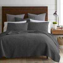 Levtex Home - Cross Stitch Quilt Set - 100% Cotton - Full/Queen Quilt (88x92in.) + 2 Standard Shams (26x20in.) - Charcoal