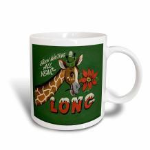 3dRose Cartoon Giraffe Wearing Stocking Hat With Holly Christmas Greeting Two Tone Mug, 11 oz, Red