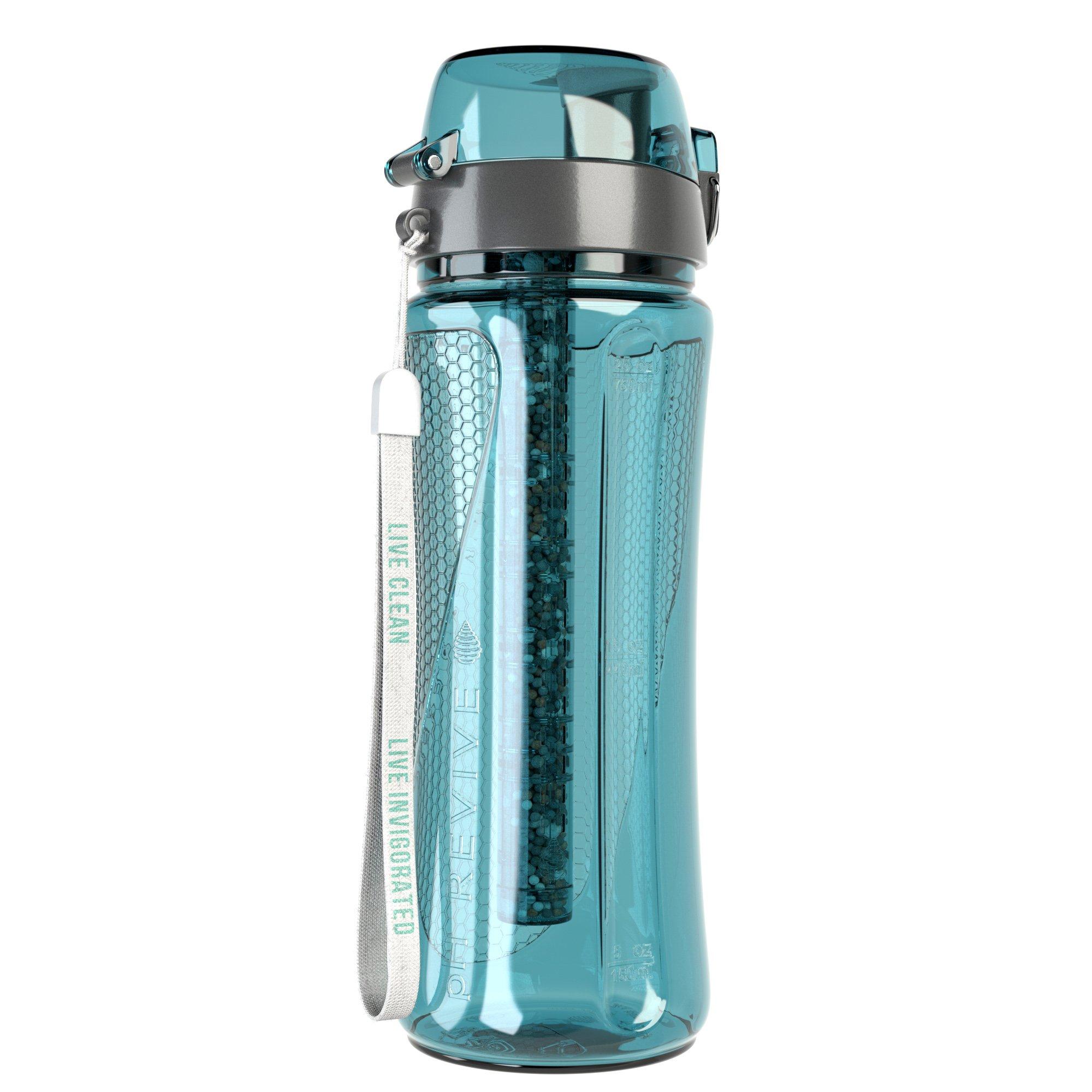 pH REVIVE Alkaline Water Bottle & Carry Case – Alkaline Water Filter - Alkaline Water Ionizer – Filtered Water Bottle – Water Filtration System, 25oz, 750ml (Aqua)