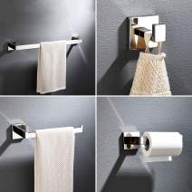 Fapully 4-Piece Bathroom Hardware Set Chrome Polish Wall Mounted Towel Bar Set Paper Holder Robe Hook for Toilet, Stainless Steel Bathroom Accessory Set