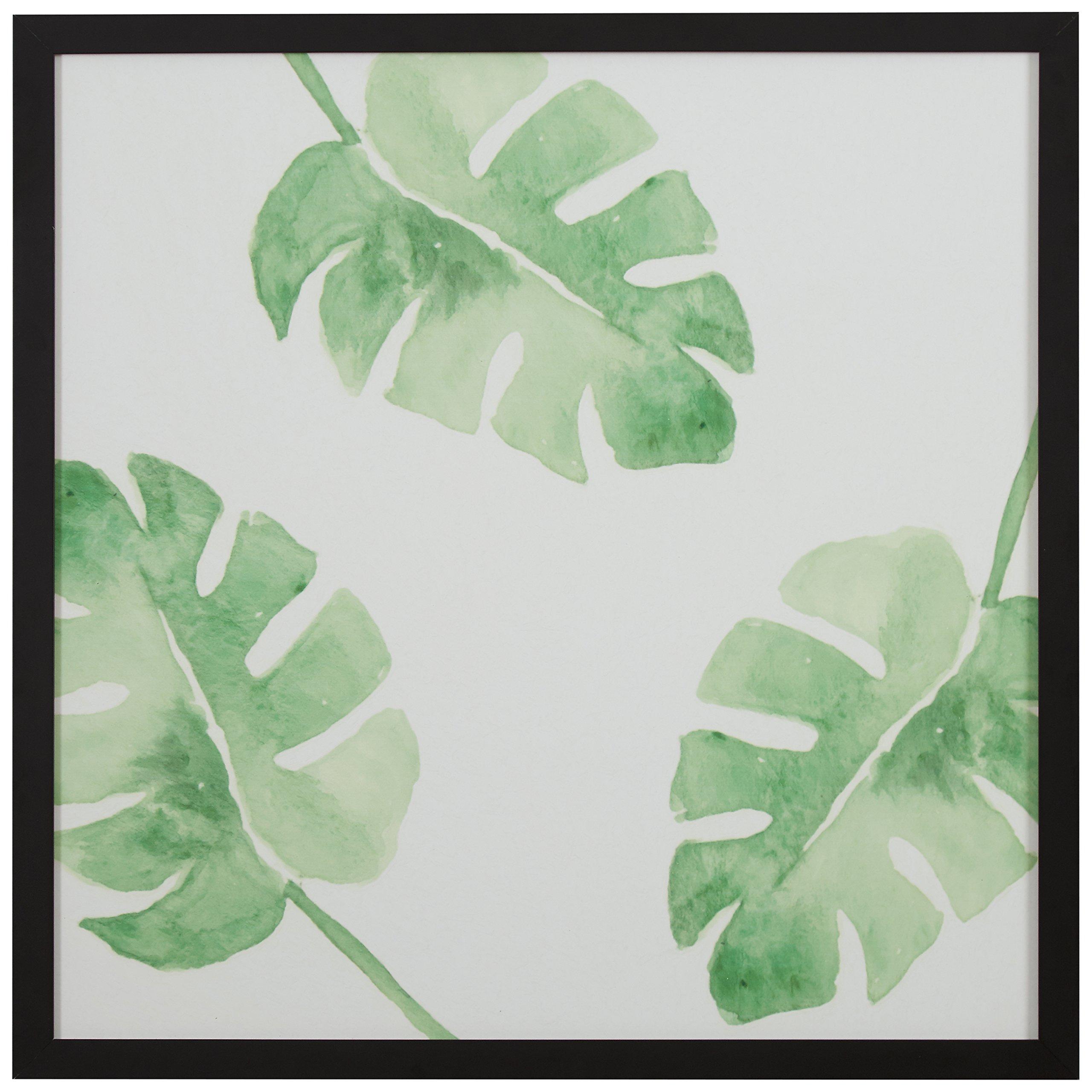 "Rivet Watercolor Green Leaf Print Wall Art in a Black Wood Frame, 20"" x 20"""