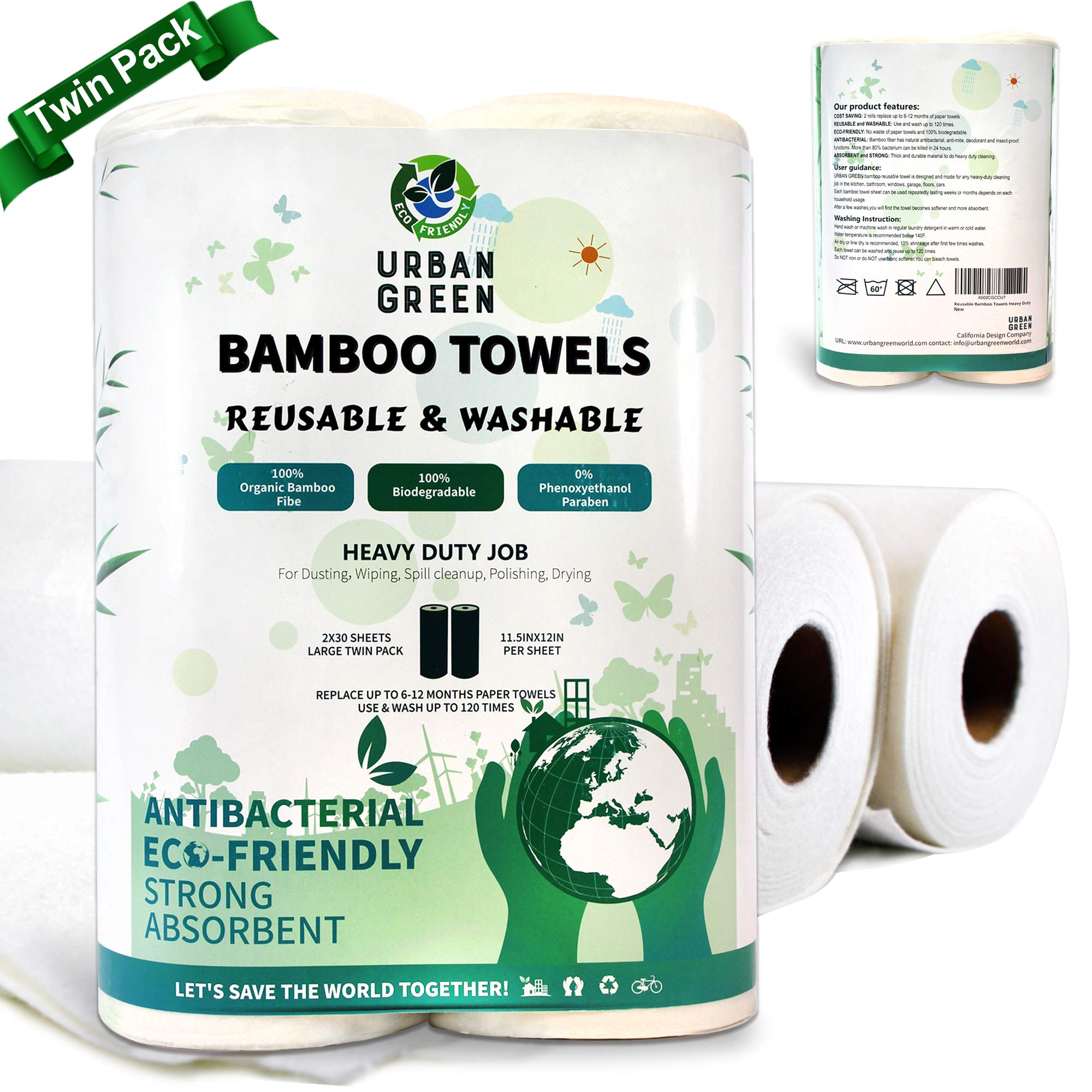 Reusable Bamboo Towels by Urban Green, Large size 2 rolls 60 sheets, Heavy Duty Un paper Towels, Thick Strong Washable, Kitchen Towels, Dish Cloths, Car Wash, Floor Cleaner mop, bamboo wash clothes