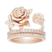 WILLOWBIRD Sterling Silver Rose Flower and Matching Cubic Zirconia Band 2pc Ring for Women Set (Various Styles)