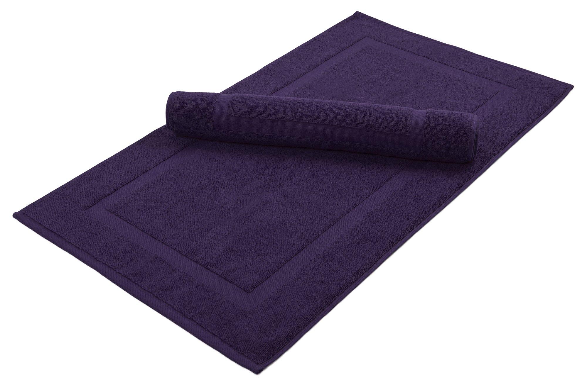 Washable Premium 100% Turkish Cotton Bath Mats | 2-Piece Set, Banded Floor Mats (20x34) - Plum (S2)