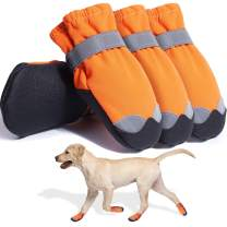Dog Boots Waterproof Shoes for Large Medium Dogs Paw Protectors for Hiking, Indoor and Outdoor 4PCS (Orange/7)