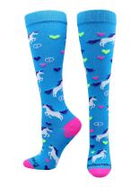 MadSportsStuff Peace Love Unicorn Over The Calf Athletic Socks