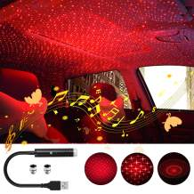 Star Projector Night Light, Booreina Sound Activated Auto Roof Interior Car Lights Romantic Starry Projector Lights Mini USB LED Night Light for Ceiling, Car, Wedding, Celebration and Party Decoration
