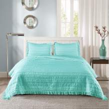 SHALALA NEW YORK Solid Stripe Quilt Set - Ultra-Soft Coverlet and Matching Sham - Elegant Clip Fabric with Channel Quilting Ruffle Edges (Aqua, Full/Queen)