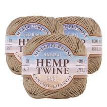 Hemptique Natural Hemp Twine #48 – Made with Love - Eco Friendly - Gardening - Macrame – Home Décor – Plant Hanger - Great for Jewelry Making, Crafts & More – #48~2mm (3 Pack)