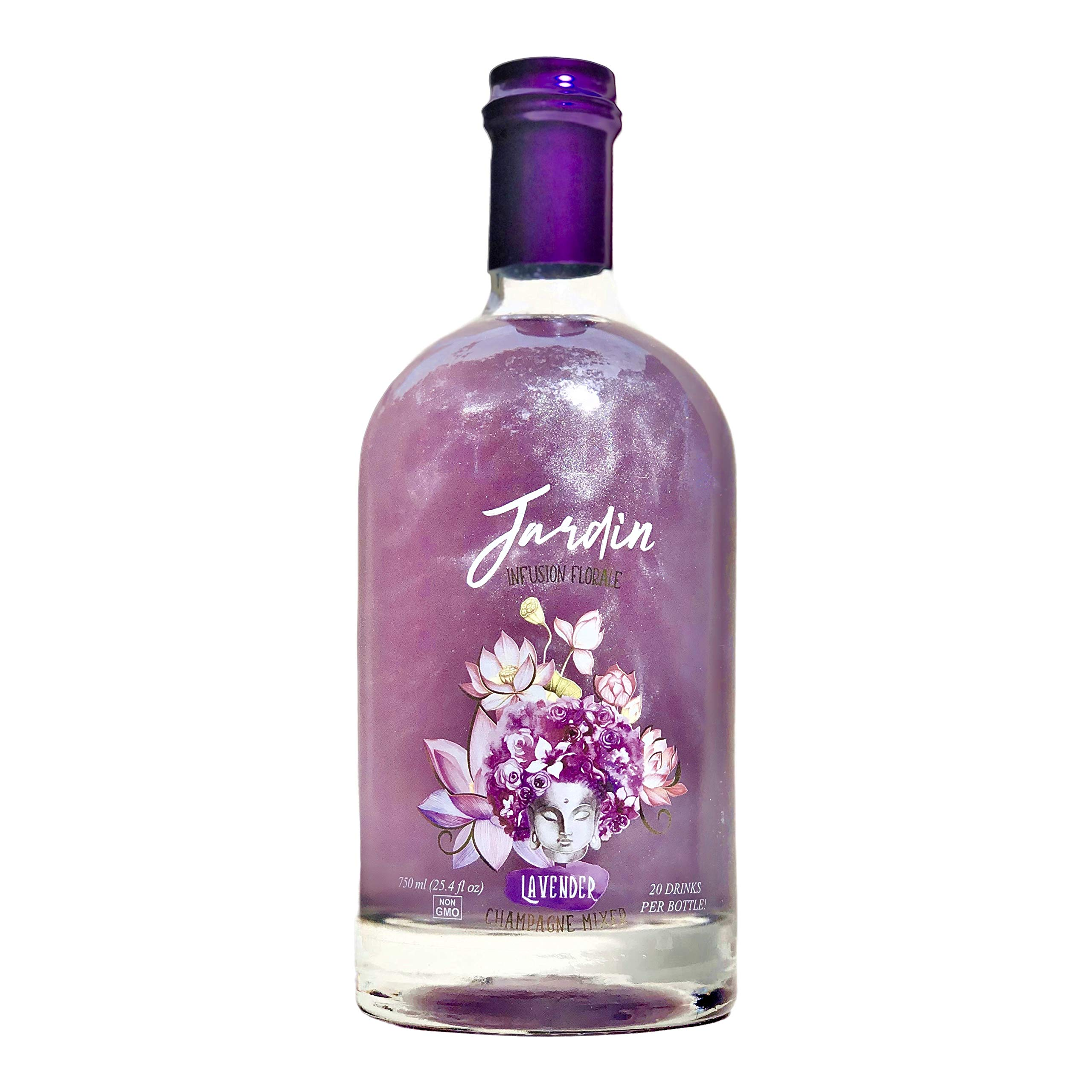Jardin - Lavender Infused Mixer to Enhance Champagne, Spirits and Non Alcoholic Cocktails, Low Sweetness, Aromatic, Floral, Non-GMO, No Preservatives, Less than 1 g sugar, Shimmer (750 ml)