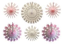 6-Piece Multi-Colored Tissue Paper Snowflake Party Decoration Kit (Pink and White, 15-22 inches)