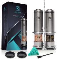 Electric Salt and Pepper Grinder Set with LED Light (Pack of 2 Mills) by KÍTCHANT - Battery Operated - Stainless Steel Stand - Automatic One Hand Operation - Ceramic Grinders - Adjustable Coarseness