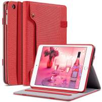 ULAK iPad Mini 2 Case, iPad Mini Case, iPad Mini 3 Case, Premium Canvas Folio Stand Protective Smart Cover with Multi-Angle Viewing, Pocket, Pen Holder Auto Sleep/Wake for iPad Mini 1/2/3, Red