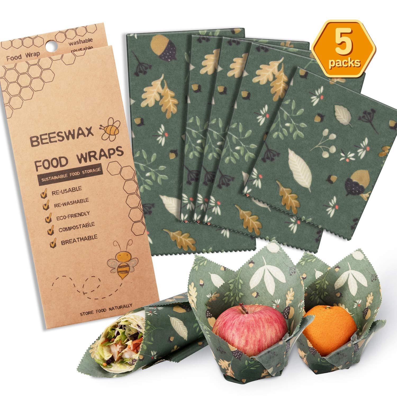 Beeswax Wraps Reusable Food Wrap Reusable Food Wraps Eco Friendly (Green)