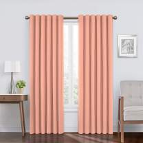 """Eclipse Bradley Thermal Insulated Single Panel Rod Pocket Darkening Curtains for Living Room, 50"""" x 95"""", Cameo"""