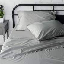 Welhome Twin Size Sheet Set - 3 Piece - 100% Cotton Washed Percale - Breathable - Soft and Cozy - Deep Pocket - Easy fit - Graphite