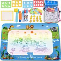 FUN LITTLE TOYS Aqua Magic Doodle Mat 39 X 30 Inches, Kids Water Doodle Mat, Writing Doodle Board, Kids Water Toys Outside Toys for Age 3 4 5 6 Year Old Boys Girls