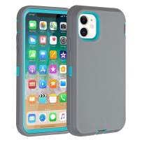 """iPhone 11 Case Co-Goldguard Heavy Duty Armor Rugged Cover Built-in Screen Protector Full Coverage 3 in 1 Reinforced Dust-Proof Shockproof Scratch Resistant Shell Fit for iPhone 11 6.1"""",Grey&Green"""