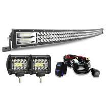"KEENAXIS 52"" LED Light Bar 300W Curved LED Bar Offroad Driving Light LED Work Light 2PCS 4 Inch Pods Cube Fog Lights W/Rocker Switch Wiring Harness for Trucks Polaris ATV UTV"