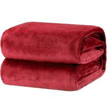 Bedsure Fleece Blanket Twin Size Red Lightweight Super Soft Cozy Luxury Bed Blanket Microfiber