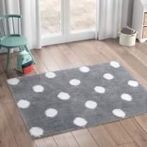 LIVEBOX Polka Dots Area Rugs, 2'x 3' Bath Mat Soft Luxury Microfiber Non-Slip Throw RugMachine-Washable Floor Carpet for Door Entryway Bathroom Bedrooms Laundry Girls' Room Decor (Gray)