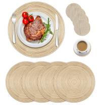 """Manzelun Round Placemats Set of 4,Woven Heat Resistant Table Mats with 4 Coasters for Dining Table(13.8"""")"""