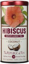 The Republic of Tea, Hibiscus Coconut Superflower Herbal Tea, 36 Tea Bag Tin
