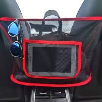 Feel Show Car Net Pocket Handbag Holder, Car Pocket Holder Seat Storage Net for Bag Purse Phone Documents, Back Seat Organizer Pet Barrier (Red)
