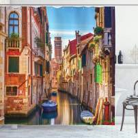 """Ambesonne European Shower Curtain, Venice Cityscape Narrow Water Canal Building Traditional Old Buildings Heritage, Cloth Fabric Bathroom Decor Set with Hooks, 70"""" Long, Orange Blue"""
