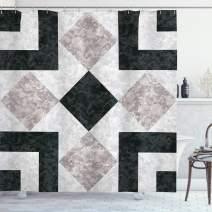 "Ambesonne Marble Shower Curtain, Nostalgic Marble Stone Mosaic Regular Design with Alluring Elements Artwork Print, Cloth Fabric Bathroom Decor Set with Hooks, 75"" Long, Beige Black"