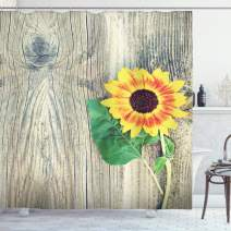 "Ambesonne Sunflower Shower Curtain, Sunflower on Wooden Old Board Bouquet Floral Mother Earth Photo, Cloth Fabric Bathroom Decor Set with Hooks, 84"" Long Extra, Brown Yellow"
