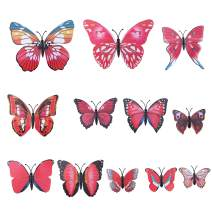AWAYTR Realistic Printed Butterfly Hair Clip 12Pcs DIY Handmade Design Fairy Hair Clips Set Hair Accessories for Girls Women, Red, One Size