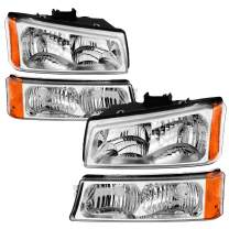 AUTOSAVER88 Headlight Assembly Compatible with 03 04 05 06 Chevy Silverado Avalanche 1500/2500/3500 Headlamp Replacement (Not Fits Body Cladding Models)
