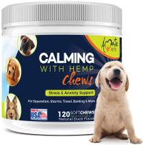 Calming Treats for Dogs with Hemp Oil Soft Chews - Dog Anxiety Relief for Separation, Storms, Travel, Barking, Aggressive Behavior 120 Softchews by Amate Pets Made in USA