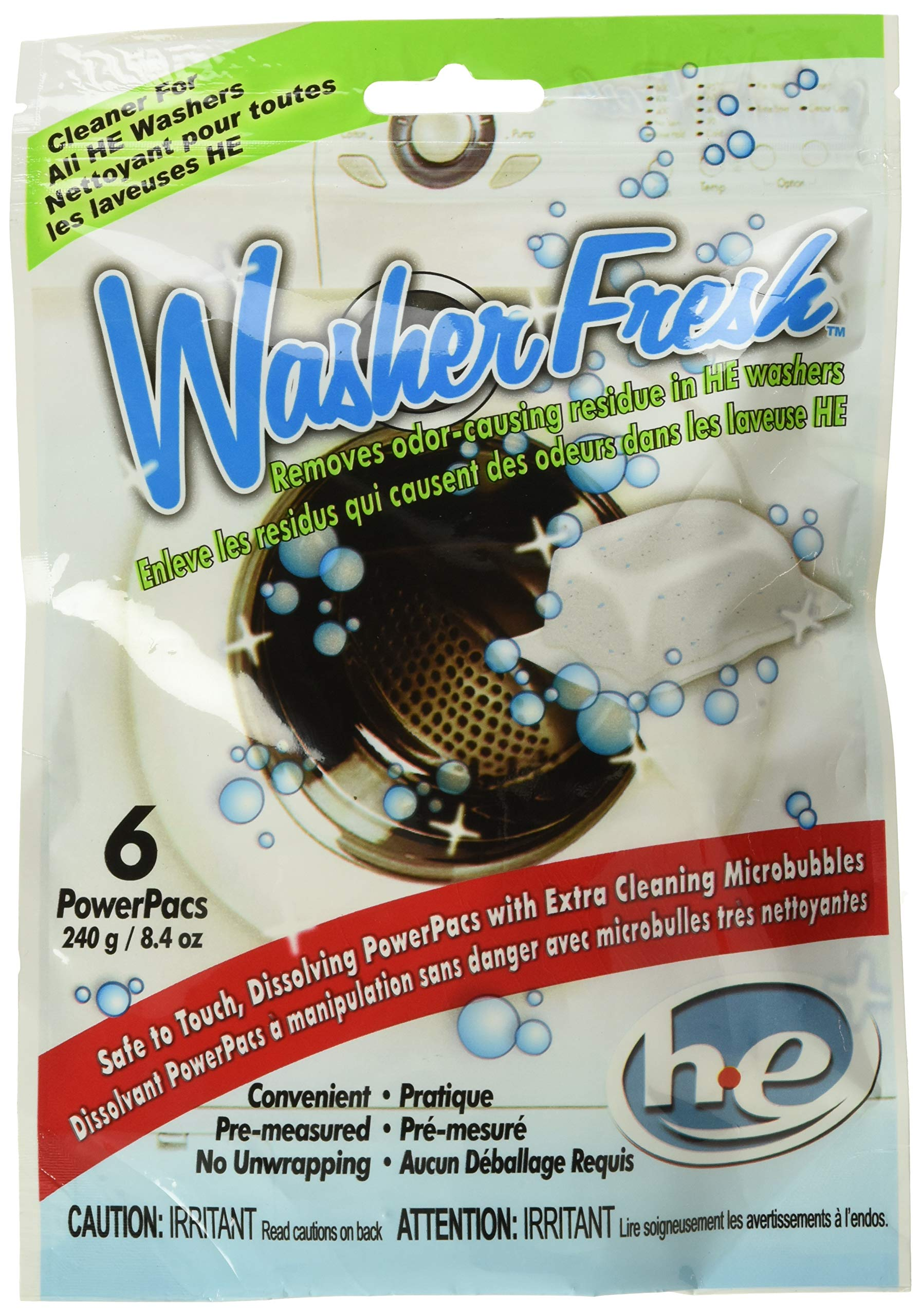 WasherFresh HE Washing Machine Cleaner PowerPac Pouches, Pack of 6 Pouches