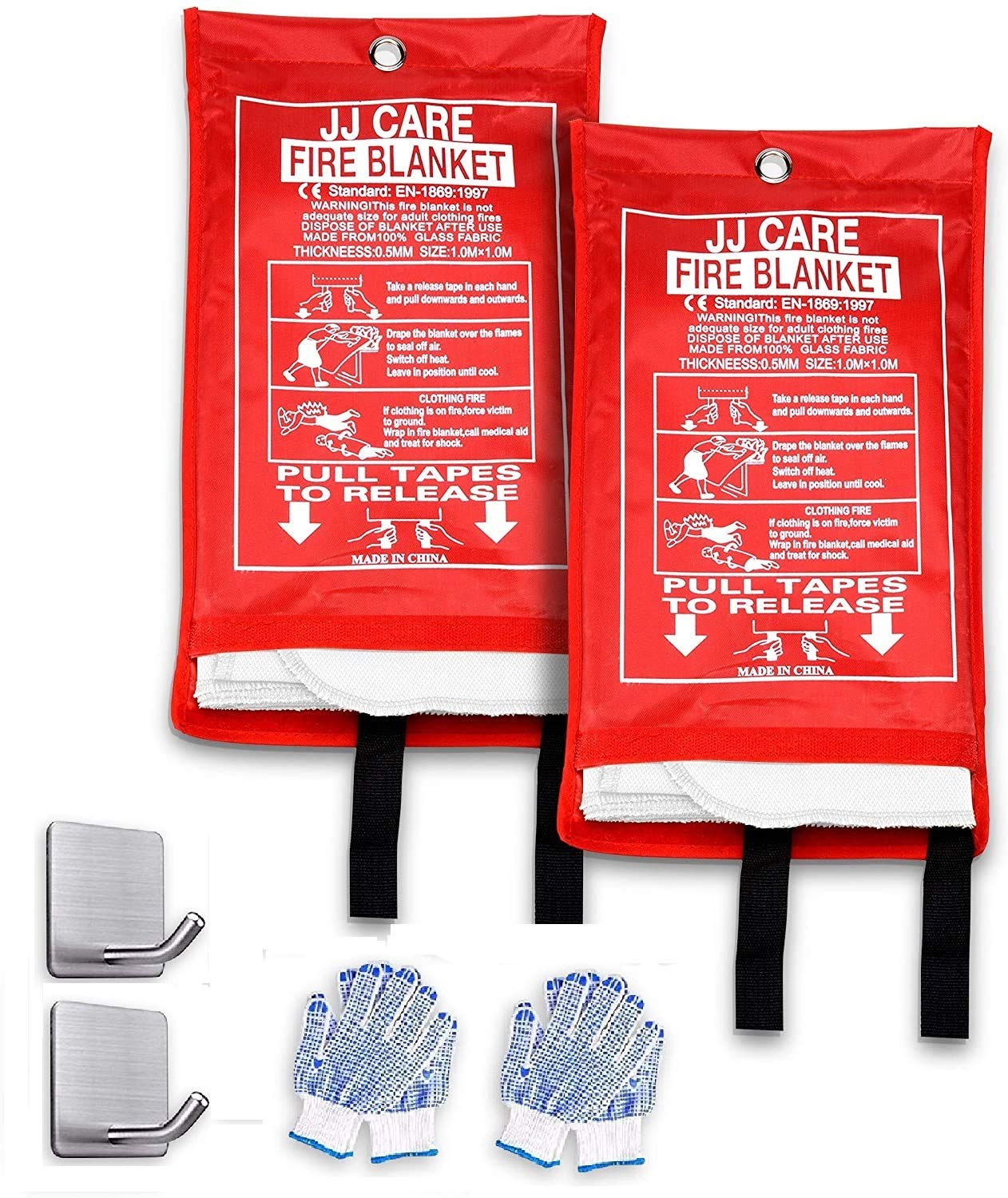"""JJ Care Fire Blanket Pack of 2 Fire Fighting Suppression Blankets Fiberglass Cloth (40""""x40"""") Flame Retardant Blanket Emergency Survival kit with 2 Hooks & Grips for Camping Kitchen & Warehouse Safety"""