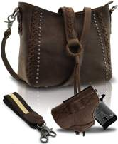 Real Leather Concealed Carry Crossbody Purse for Women Studded Genuine Leather Hobo Handbag With Shoulder Strap